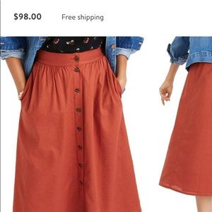7664b98c17 Madewell Skirts | Palisade Button Front Midi Skirt Size 0 | Poshmark